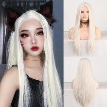 Харизма средней части длинный прямой синтетический парик Платиновые светлые парики для женщин высокотемпературные волосы косплей парик