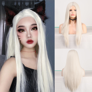 Charisma Middle Part Long Straight Synthetic Wig Platinum Blonde Wigs for Women High Temperature Hair Cosplay Wig