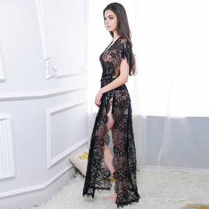 Image 5 - Ohyeahlover Short sleeve transparent lace nightgown with belt maxi side split women night robe fishnet dressing gown RL80262