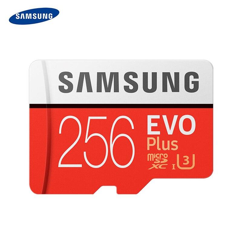 SAMSUNG EVO artı hafıza kartı 256GB 100 mb/sn U3 SDXC C10 UHS-I sınıf TF/mikro SD kart Trans flaş Microsd % 100% orijinal