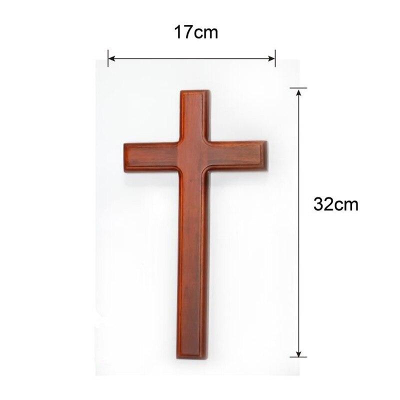 Bois massif grande croix mural jésus Christ croix église décoration maison décoration catholique chrétien surdimensionné 32 cm de haut - 2
