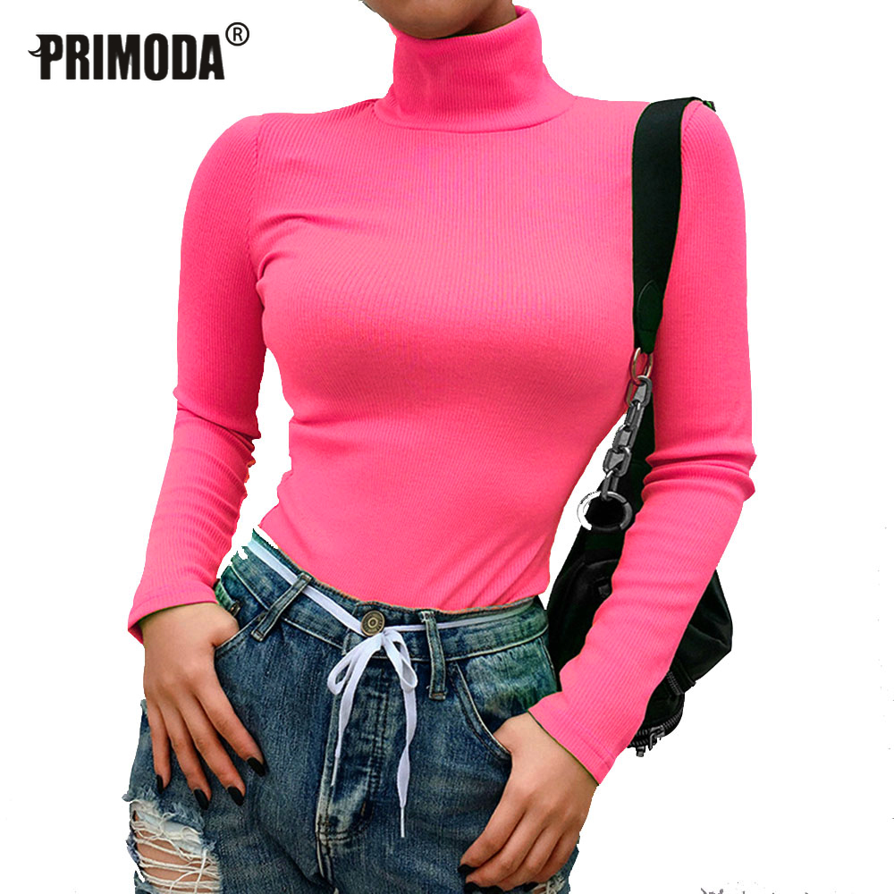 Women Sweaters Turtleneck Long Sleeve Fluorescent Green Jumpers Winter Tops Sexy Knitted Shirts Pullovers Club Elastic PR243M