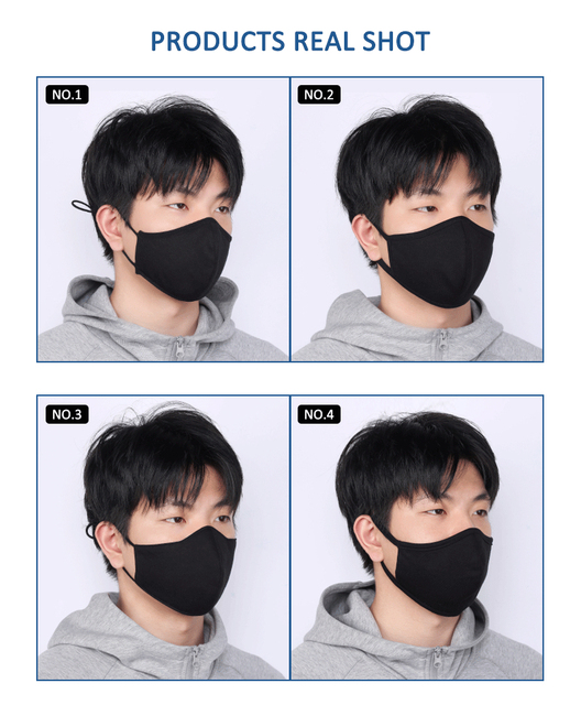 Cotton Black Mask mouth face Mask Anti dust Mouth Mask 3ply Silver Ion Antibacterial korean Mask Fabric Face Mask Earloops Masks 3