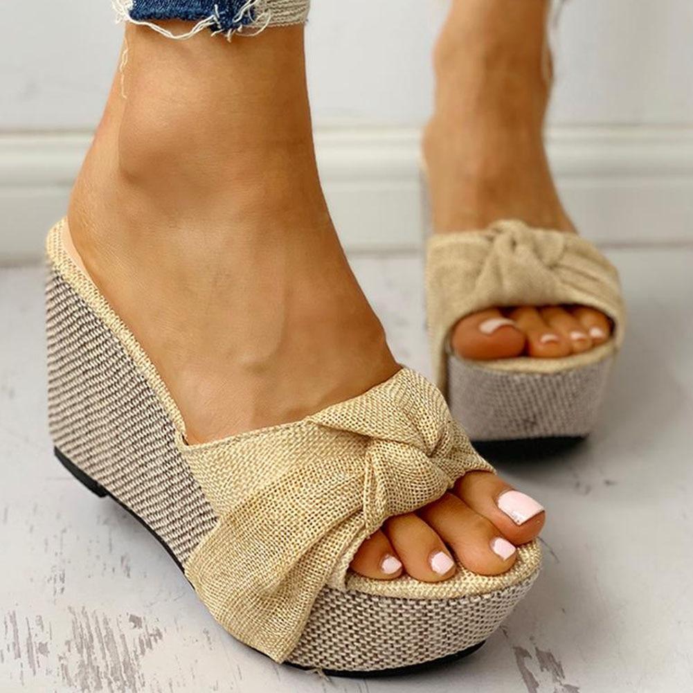 WDHKUN Bow Tied Slip On Leisure Platform Summer Sandals 2020 Wedges High Heels Women Shoes Woman Mules Flip Flops