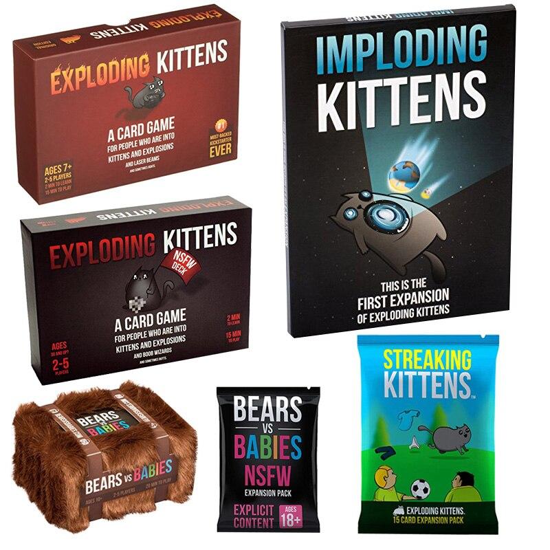 Exploding Kittens Card Game Imploding Kittens Streaking Kittens Bears VS Babies For Fun Board Game Explosing Kittens