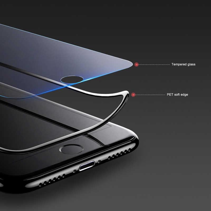 500D Melengkung Kaca Pelindung untuk iPhone X XS 11 Pro Xs Max XR Pelindung Di iPhone 7 8 6 6S Plus SE 2020 Kaca Film