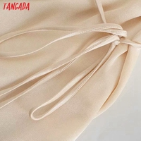 Tangada Women's Summer Dress Fashion Solid Satin Dresses with Slash Bow Female Casual Beach Dress 3H287 3