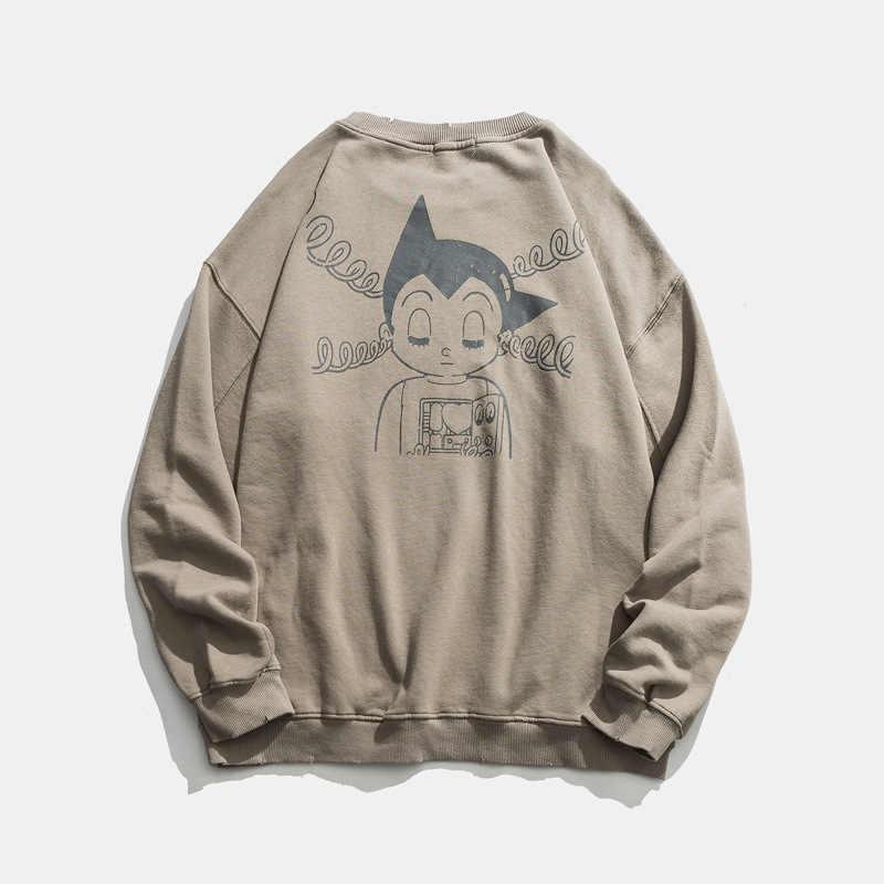 Cidade onde o produto de estilo japonês workwear lavagem pulôver com capuz solto-ajuste astro boy cartoon impresso em torno do pescoço camisola