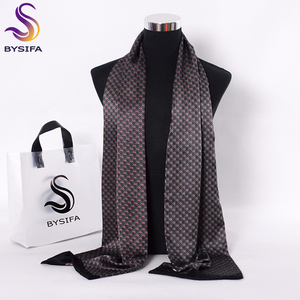 Image 1 - [BYSIFA] Black Red Long Scarves For Men Fashion Accessories Male Pure Silk Scarf Cravat Winter Flowers Pattern Scarf 160*26cm