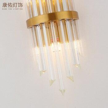 Postmodern crystal wall lamp gold wall sconce lights AC110V 220V fashion luxury lustre living room bedroom light fixtures