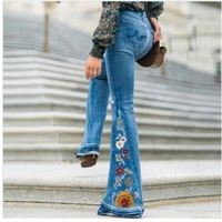 Embroidery Flower Vintage Long Flare Leg Belted Jeans Women Zipper Fly Retro Blue Black Denim Pants 3 Colors