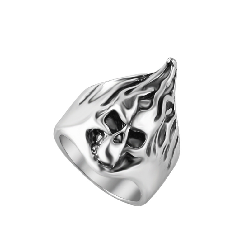 Exaggerated flame skull Ring hot accessories hip hop punk personality vintage silver European and American jewelry