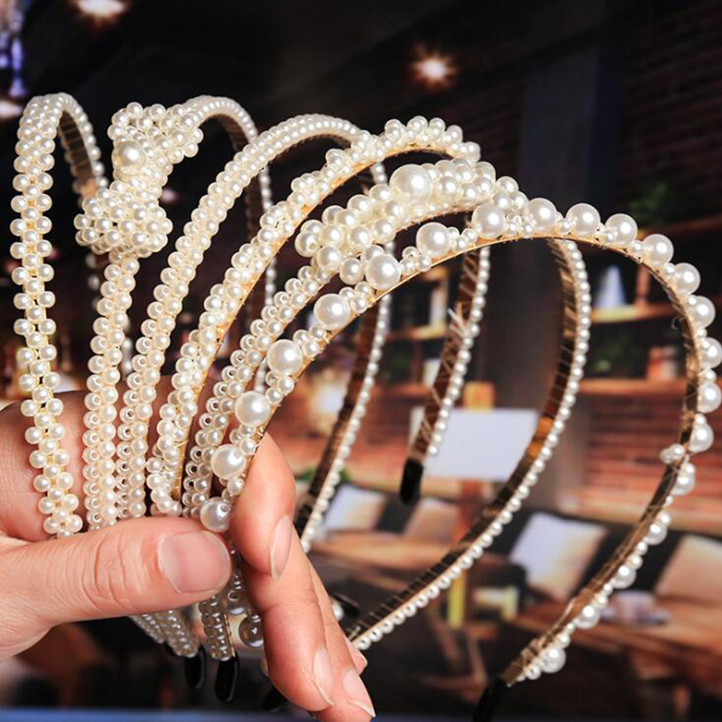 1pc  New Handmade Knotted Pearl Headband Winding Beading Headdress Bow Non-slip Girls Headwear Women Hair Accessories