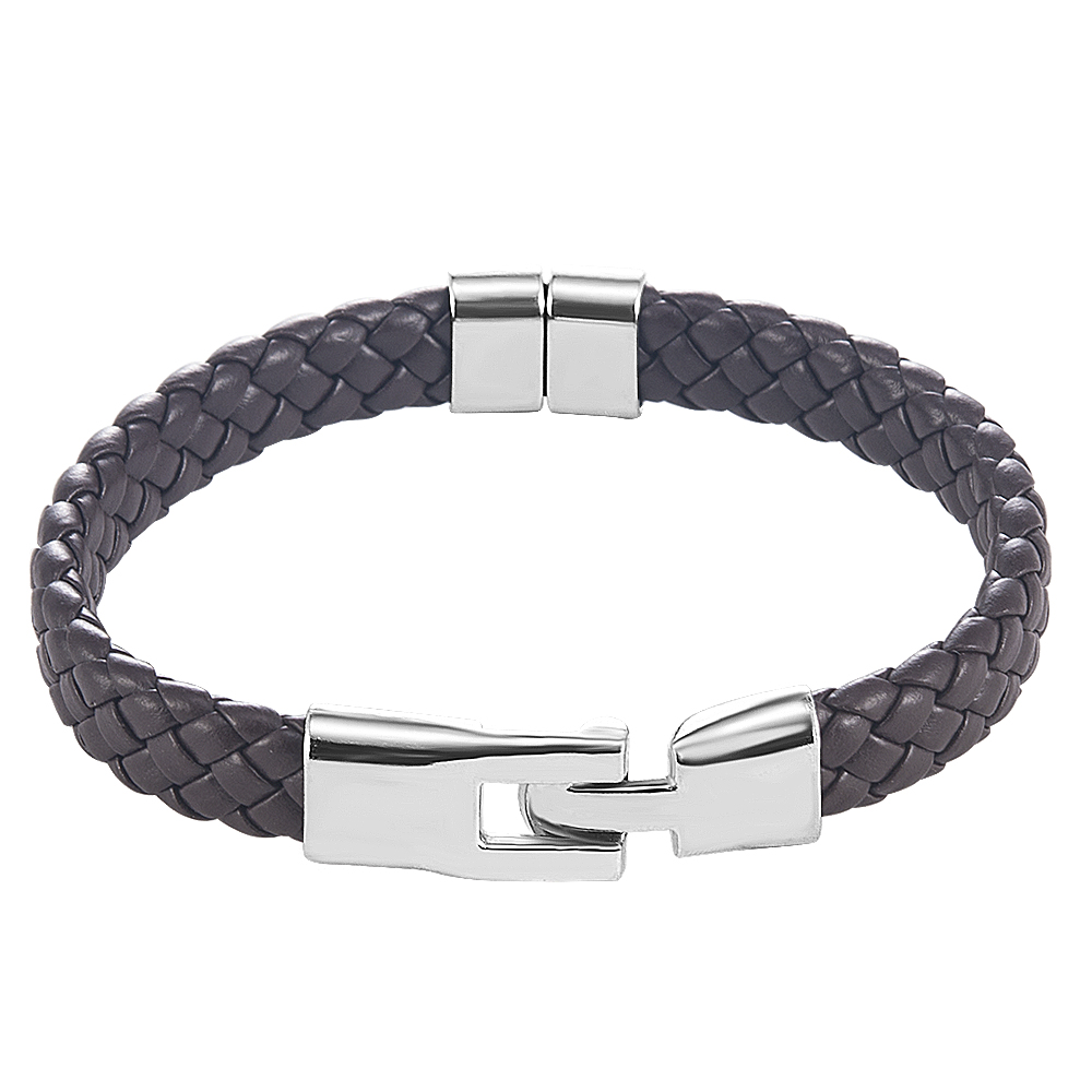 High Quality Men Women Leather Wrap Wristband Cuff Magnetic Clasp Bracelet Stainless Steel Buckle Clasp Bracelets Jewelry 5