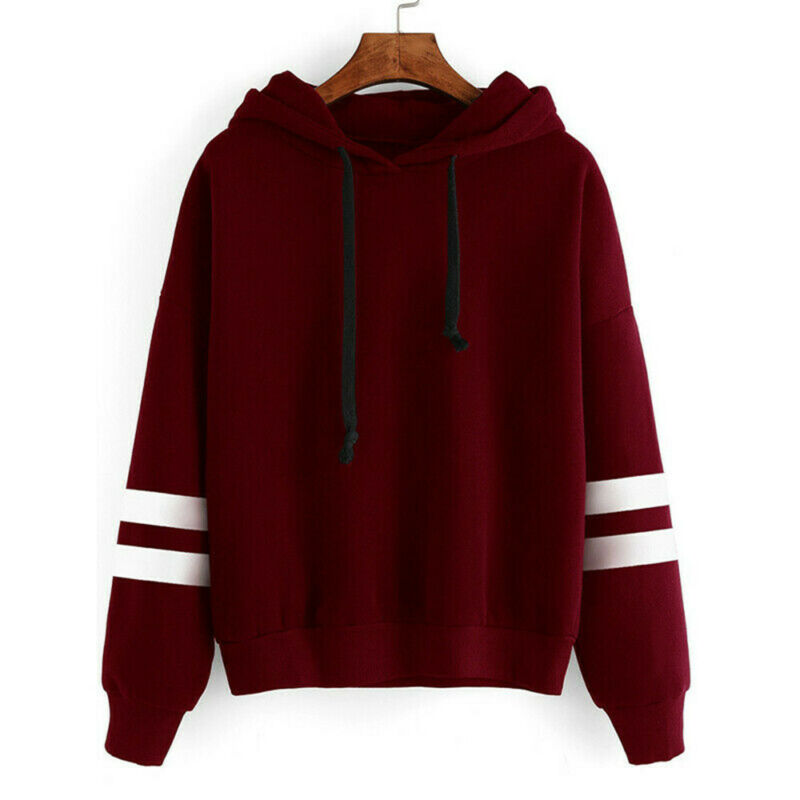 Autumn Striped Hooded Women's Sweatshirt Long Sleeve Hoodies Plus Size Womens Casual Hooded Pullover Loose Sweatshirts