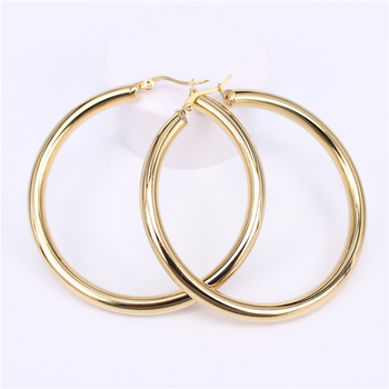 Stainless Steel Hoop Earrings Earrings Jewelry Women Jewelry Metal Color: Diameter 60MM Round