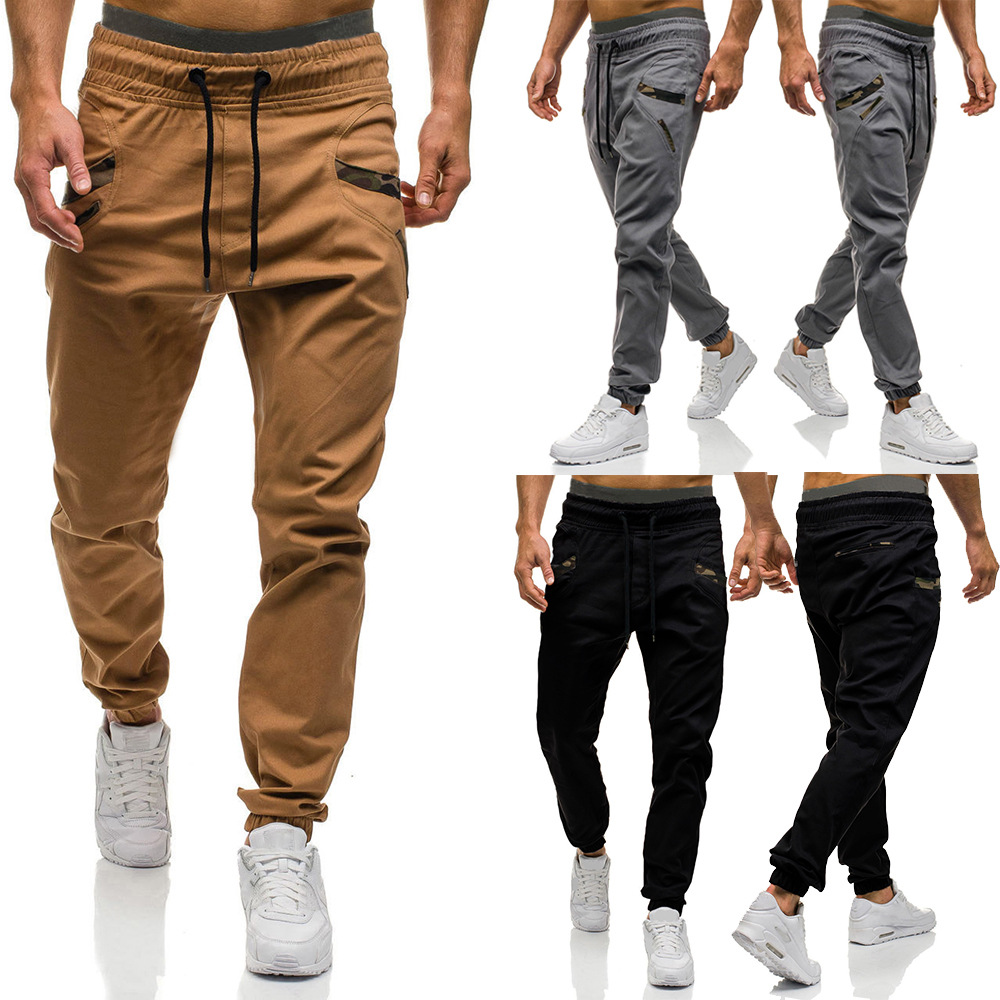 Men's Beam Leg Casual Pants Fashion Skinny Pants Pocket Spell Camouflage Article Trousers