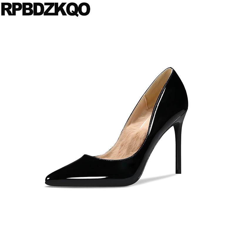 Details about  /Womens Plus Size Patent Leather Shoes High Heel Pointed Toe Transparent OL Pumps