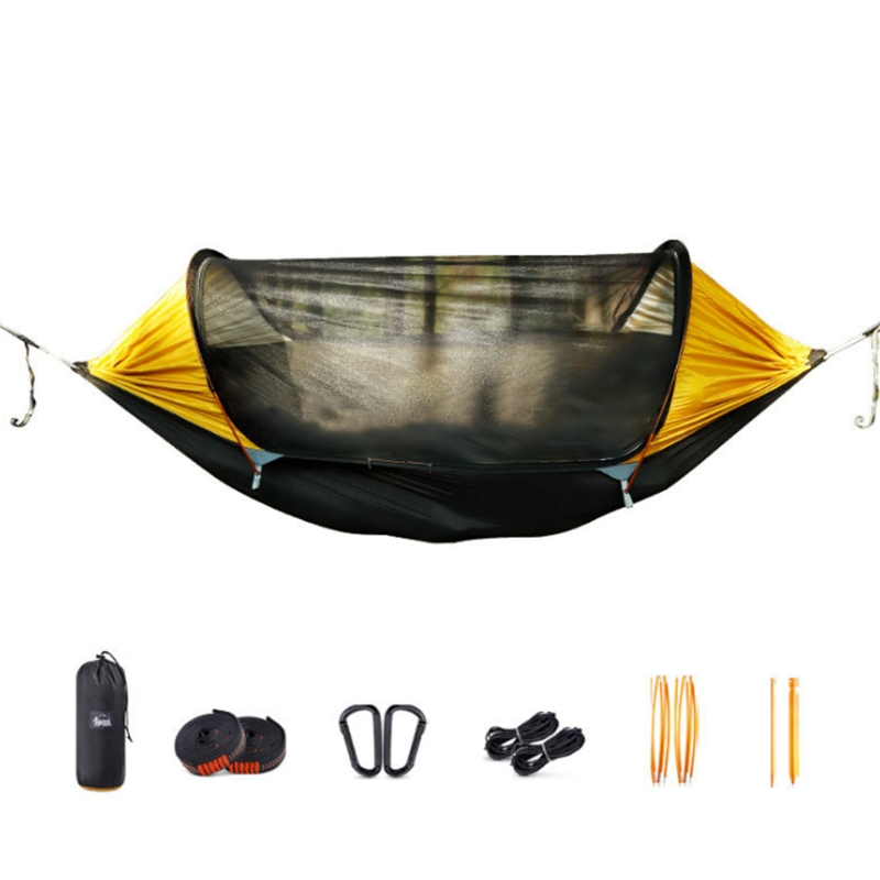 Camping Hammock with Bug Net Portable Outdoor High Strength Parachute Hanging Bed Hunting Sleeping Swing