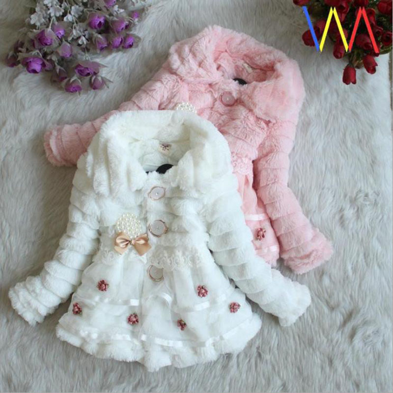 Winter full sleeve Leopard faux fox fur collar Children Girls coat Jacket Baby Girl Outerwear Hooded Infant Clothing Thick Warm 6