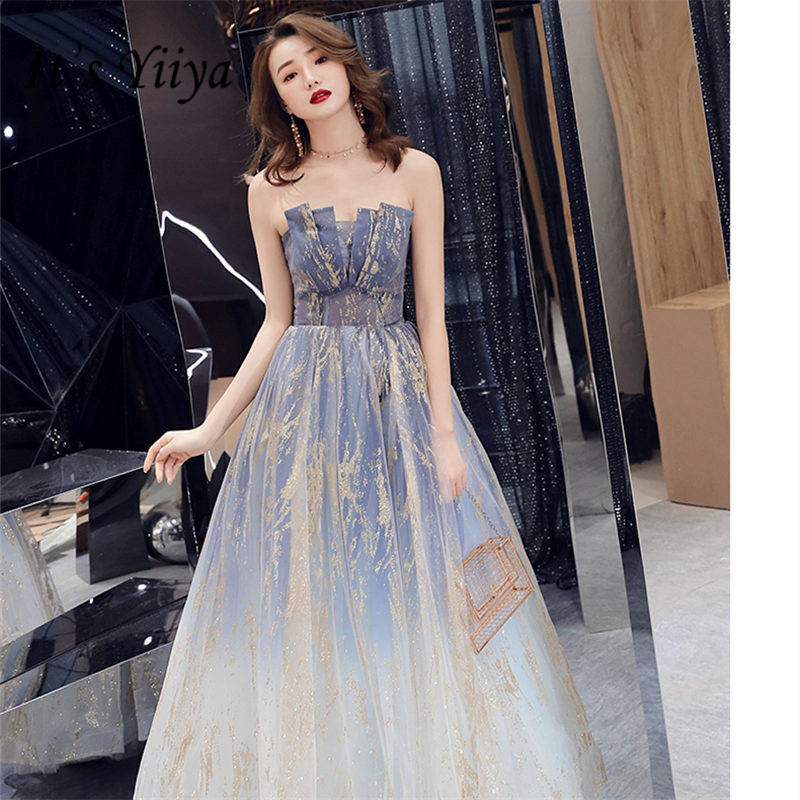 It's Yiiya Evening Dresses  2019 Elegant Sexy Strapless Women Party Dresses Shining Sleeveless Floor-Length Robe De Soiree E830