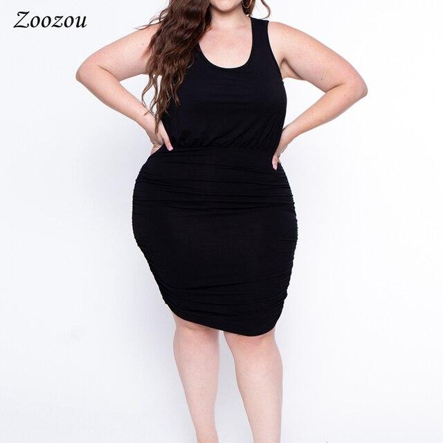 New Women Pleated Sleeveless Dress Twist Asymmetrical Hem Black Tank Top Dress Plus Size 4XL Knee Length Stretch Dress Custom