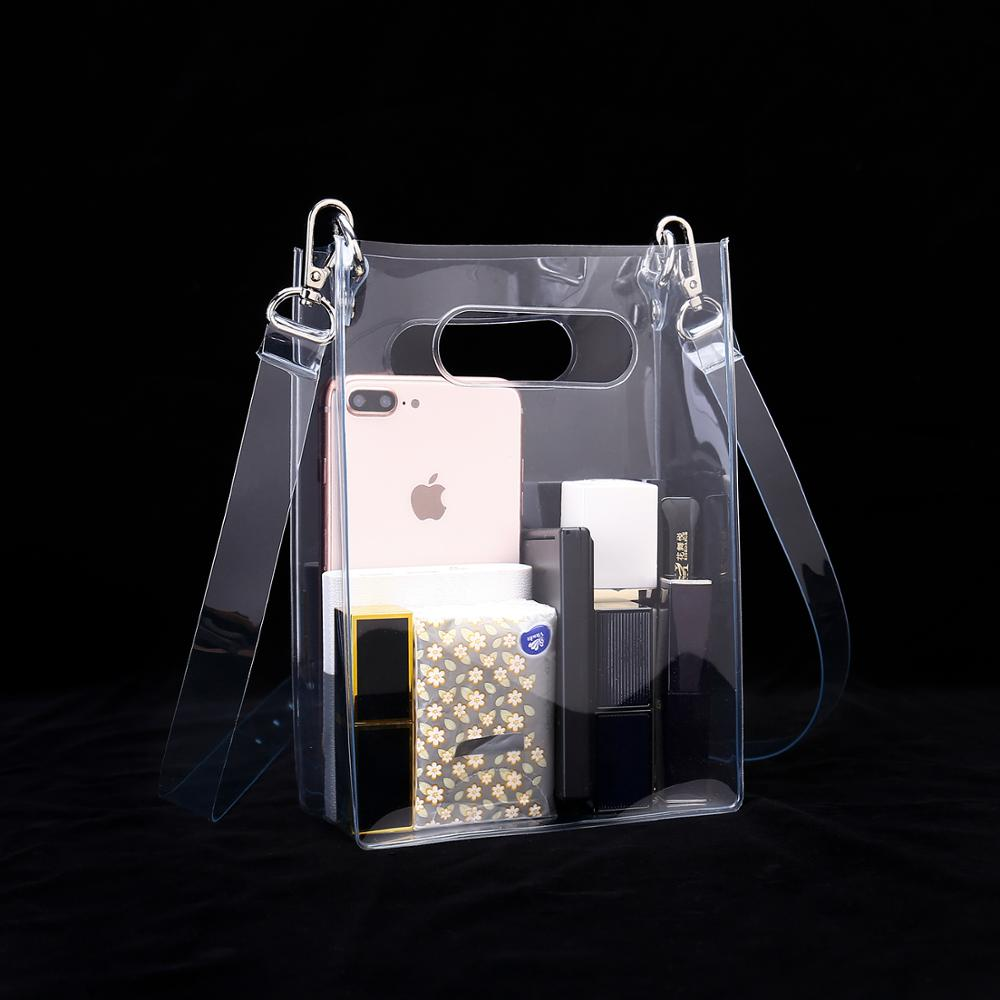 Clear PVC Crossbody Shoulder Bag With Detachable Strap Available For Custom