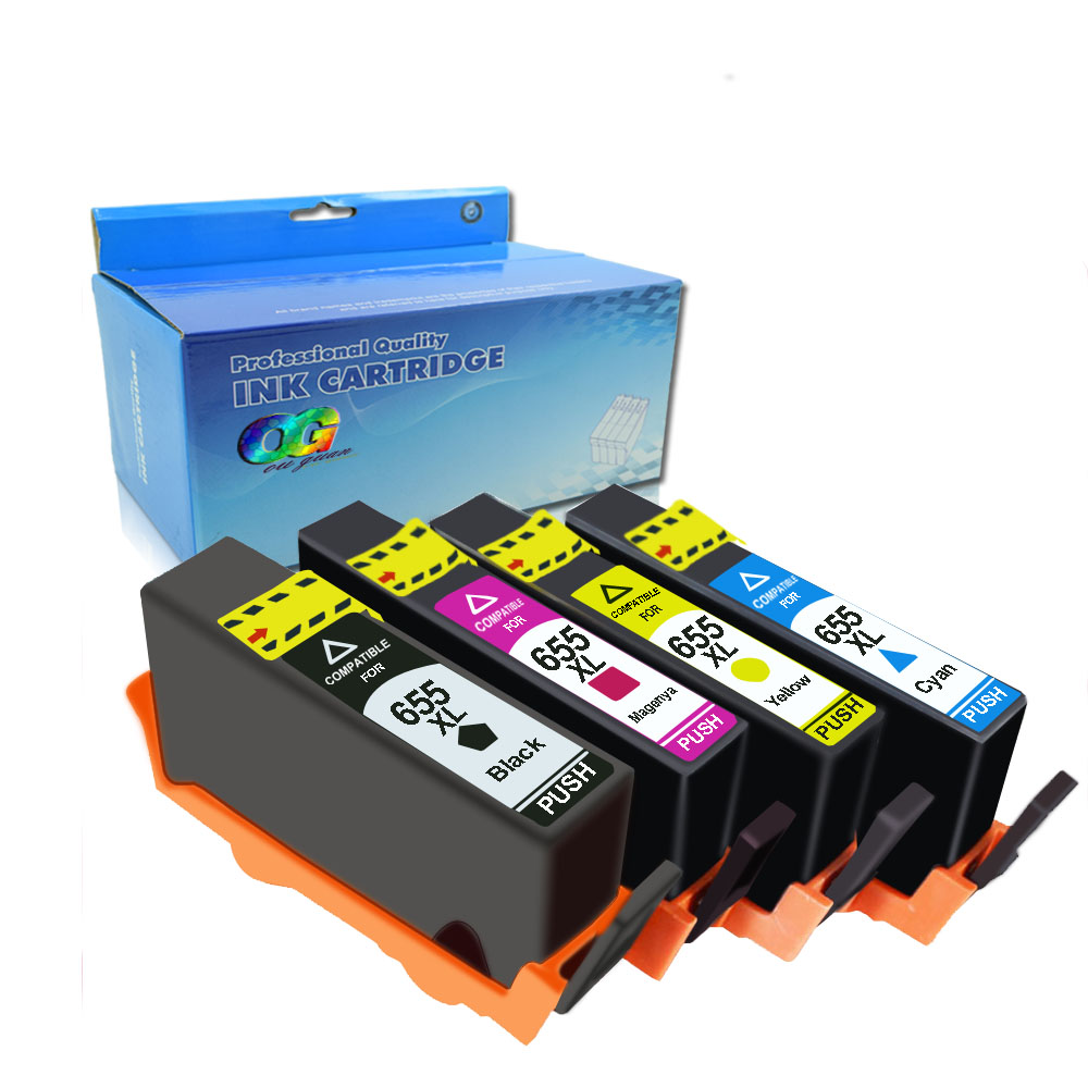 4Pack Compatible HP 655 hp655 ink cartridge FOR HP deskjet 3525 4615 4625 5525 6525 6525 6625 Printer image