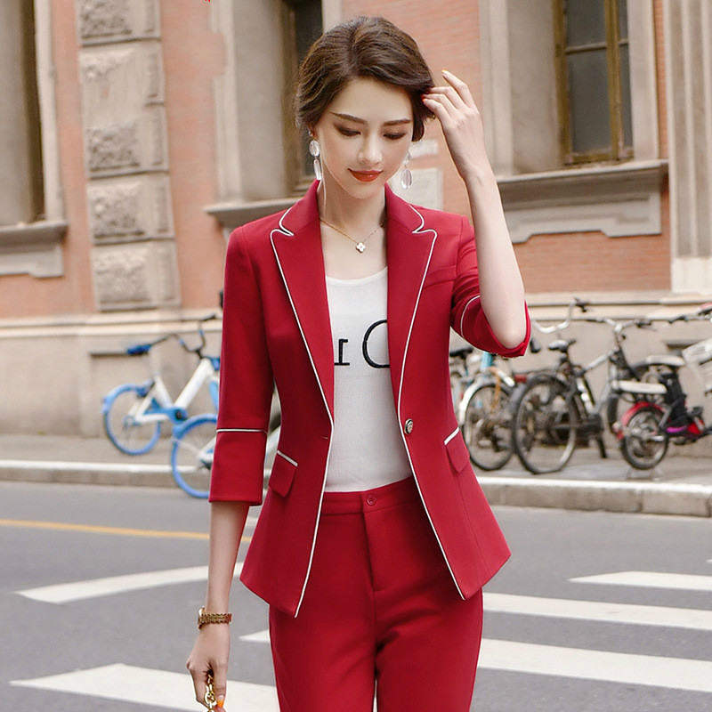 2020 Spring And Summer Women's Pants Suits High Quality Workwear Elegant Lady Blazer Jacket Small Suit Wild Trousers Two-piece