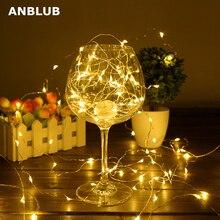 ANBLUB 2 м 5 м 10 м медный провод светодиодный гирлянды водонепроницаемый праздничное освещение для сказочной рождественской елки украшения свадебной вечеринки