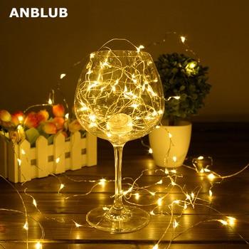 ANBLUB 2M 5M 10M de alambre de cobre Alambre de cadena de luces LED a prueba de agua iluminación de vacaciones para feérico Navidad árbol decoración para fiesta de boda