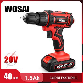 WOSAI nowy 20V wiertarka akumulatorowa elektryczny śrubokręt Mini bezprzewodowy sterownik mocy DC akumulator litowo-jonowy 3 8-Cal 2 prędkości 4 8 tanie i dobre opinie Wiertarko Domu DIY 50-60Hz 40N m Drilling in Steel in Wood in Ceramic WS-3020 1 25kg 20 v 3 8 (0 8-10mm) Baterii 230W