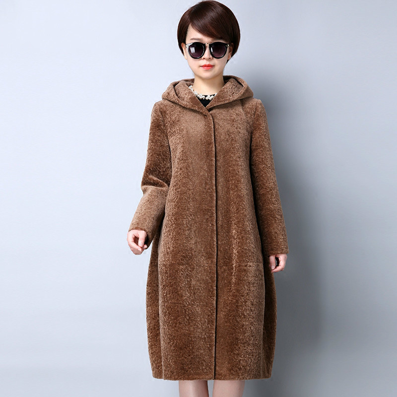 Fur Real Coat Sheep Shearing 100% Wool Coat Women Plus Size 2020 Winter Cloak Female Jacket Hooded Abrigos Mujer KJ545