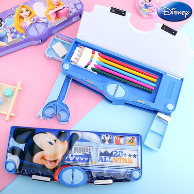 Male and female pupils multifunction Korea creative plastic pencil case with Sharpener 2 Layer Double Open Multi-layer