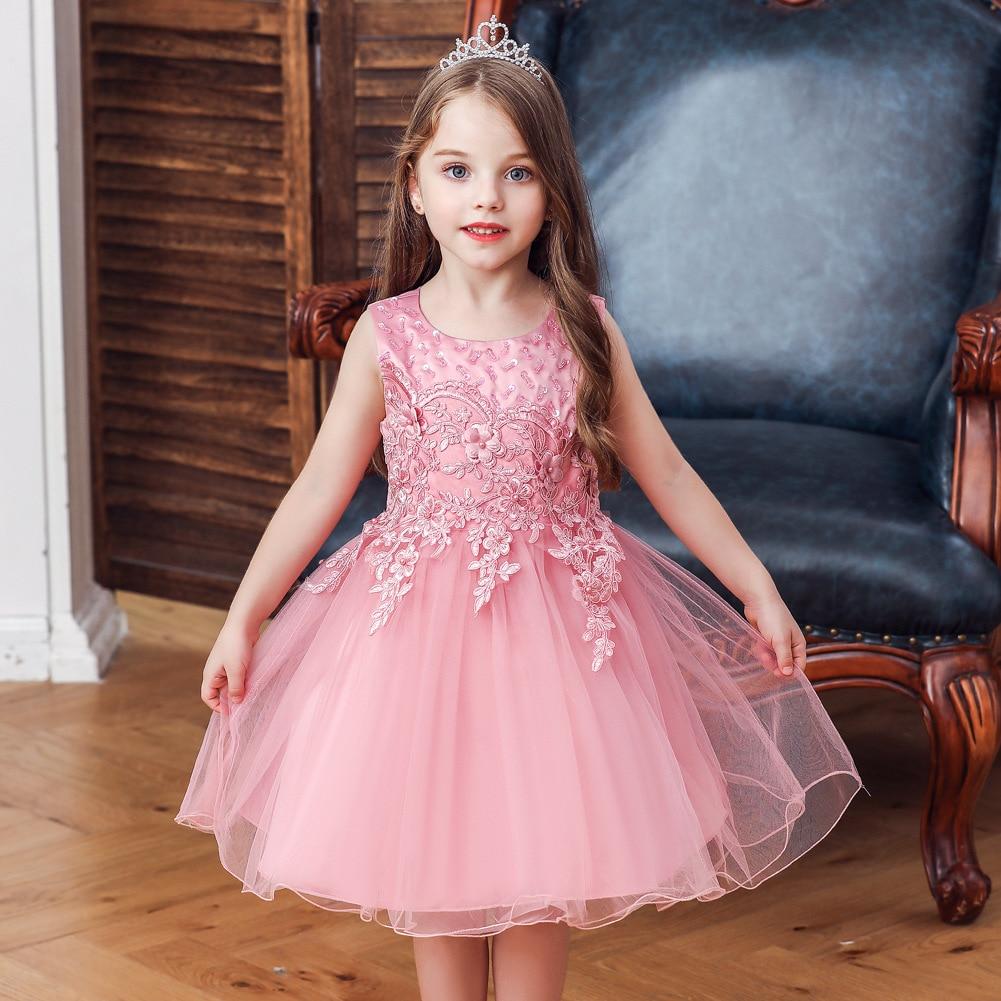 CHILDREN'S Full Dress Cross Border Europe And America Girls Gauze Flower Boys/Flower Girls Wedding Dress Princess Dress Performa