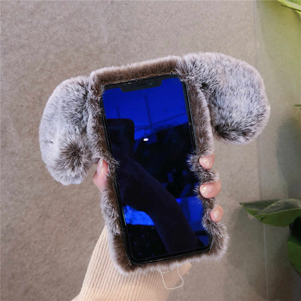 Plush Dog Ear Phone Case For iPhone 11 Pro XR X XS Max Cover Soft TPU Warm Winter Fur Cover For iPhone 7 8 Plus 6 6S Plus Case