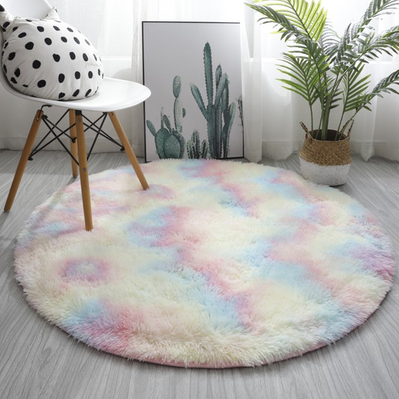 RULDGEE Pink Shaggy tie-dye Round Carpet Colorful Fluffy Alfombra Circles Coffee Table Blanket Bedroom Hanging Basket Yoga Rug