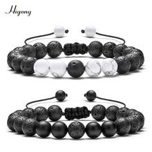 2PCS Black Matte Agates & White Howlite Beads Bracelet Adjustable Natural Lava Rock Stone Healing Distance Bracelets for Couples