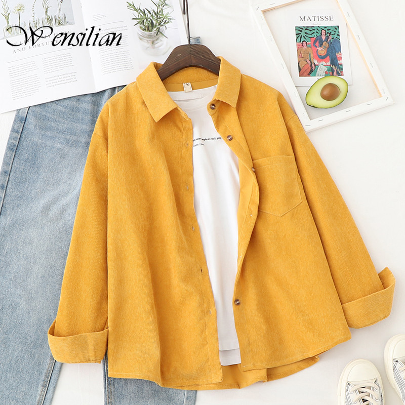 Corduroy Shirts Womens Tops and Blouses Long Sleeve Blouses Shirts Ladies Solid Tops Loose Style Shirt Blusas Mujer De Moda(China)