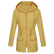 Wanita Tahan Angin Mantel Fashion Wanita Solid Hujan Outdoor Pakaian Plus Ukuran Tahan Air Hooded Jas Hujan Longgar Mantel Lebih Tahan Dr(China)