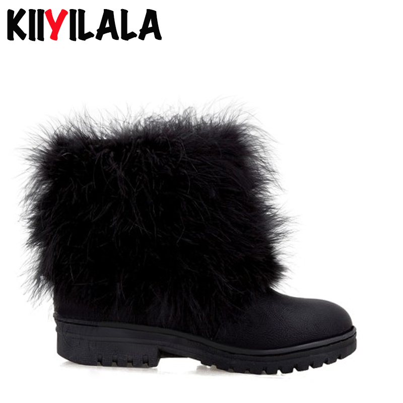 Kiiyilala Natural Fur Snow Boots Women Slip on Warm Plush Flat Heel Ankle Boots Shoes Woman Non slip Winter Boots Women Big Size in Ankle Boots from Shoes