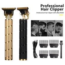 Usb t9 máquina de cortar cabelo elétrica profissional aparador de pêlos barbeiro barbeador aparador barba 0mm máquina de corte de cabelo para homens sem fio
