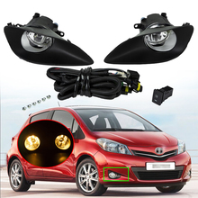 A Set Car Fog Light Assembly Front Bumper Fog Lamp With H11 55W Bulbs Wire Harness Switch Kit For Toyota Yaris 2006-2011 2010 free shipping fog light set fog lights lamp for toyota yaris hatchback vitz 2006 2008 clear lens pair set wiring kit