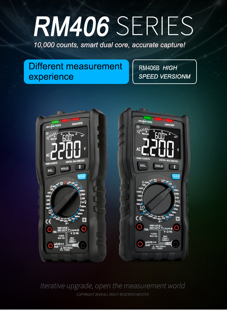 RM406B Digital Multimeter with 10000 Counts and Anti Burn Alarm for AC Voltage and Current Frequency Test 6
