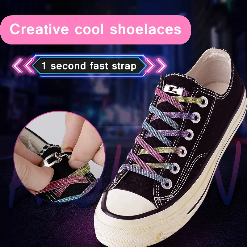 1Pair Elastic Locking Shoelaces Cross Buckle Candy Flats No Tie Shoelace Quick Sneakers Locking Shoe Laces Kids Adult Shoelaces