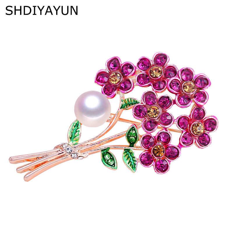 Broche Nueva Perla SHDIYAYUN, broche de flores esmeriladas para mujer, broches creativos, broches, joyería de perlas naturales de agua dulce G