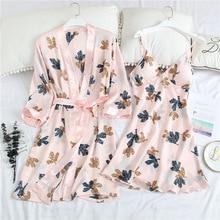 Summer 2PCS Sleepwear Casual Kimono Bathrobe Gown Print Wedding Robe Set Soft Satin Nightgown Intimate Lingerie Sexy Homewear