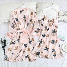 Yaz 2 adet pijama gündelik Kimono bornoz elbisesi baskı düğün bornoz seti yumuşak saten gecelik samimi iç çamaşırı seksi gecelik