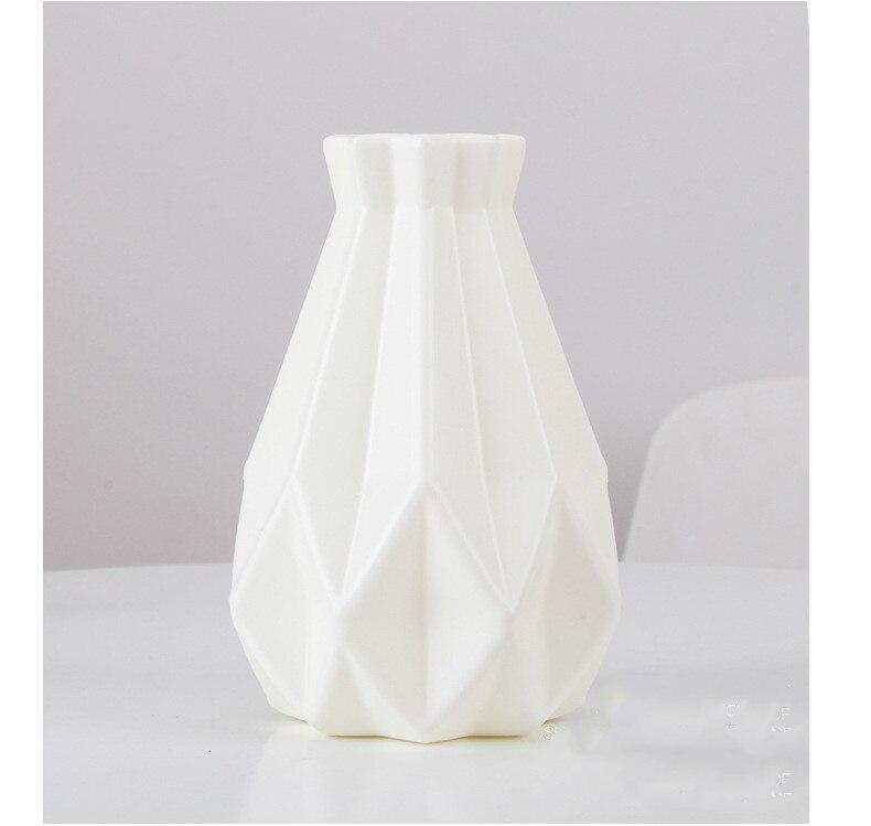 Цветочная ваза для украшения интерьера пластиковая ваза белая имитация керамического цветочного горшка Цветочная корзина скандинавские декоративные вазы для цветов - Цвет: White1
