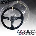 Универсальные гоночные рулевые колеса 14 дюймов 350 мм из замши/ПВХ, спортивное Рулевое колесо с логотипом